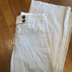J. Crew seersucker wide leg khaki/white pants